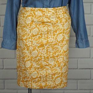 Ann Taylor LOFT sz 14 yellow floral pencil skirt